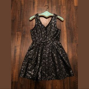 one clothing Dresses - Black and Silver Brocade Dress